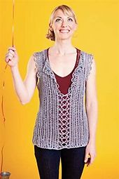 Vertical strips of hairpin lace create a top that is easily modified for length and width. With its excellent drape and beautiful texture, this lovely layer will add drama to any outfit. Hairpin Lace Crochet, Crochet Tunic, Crochet Clothes, Crochet Vests, Crochet Sweaters, Crochet Tops, Interweave Crochet, Broomstick Lace, Diy Crochet Projects