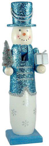 """SNOWMAN~14"""" Glitter Snowman Nutcracker  Blue"""