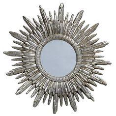 Sun Mirror, Antique Silver