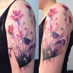 Purple-Flowers-Tattoo-on-Shoulder-by-Hrochs-510x510.jpg (510×510)