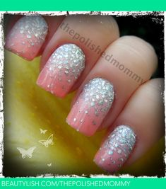 Ombre sparkle nails prom nails, wedding nails, get nails, fancy nails Get Nails, Prom Nails, Love Nails, Wedding Nails, How To Do Nails, Pretty Nails, Hair And Nails, Pretty Makeup, Sparkle Nails