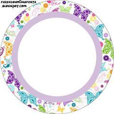 Fundo de Borboletas Coloridas - Kit Completo com molduras para convites, rótulos para guloseimas, lembrancinhas e imagens!