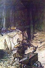 Reginnaglar var i nordisk mytologi spikar som slogs in i högsätenas stolpar.  Genom dem blev högsätena symboler för Världspelarens topp över vilken endast himlen fanns.  Regin var en dvärg och berömd smed i nordisk mytologi, son till Reidmar, bror till Fafne och Utter. Regin dödar tillsammans med Fafne deras far, Hreidmar, för att komma över lösesumman som Oden betalat efter att ha dödat deras bror Utter.  Lösesumman innehöll bland annat den magiska ringen Andvaranaut som beskrivs i Wagners…