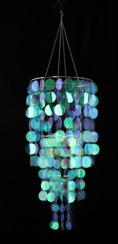 PVC Iridescent Clear Circles Chandelier