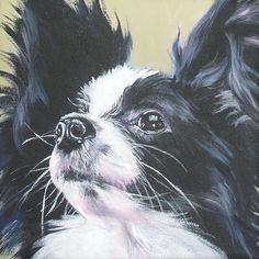 Papillon art print Canvas print of a painting by LA Shepard 12x12 dog. $39.99, via Etsy.
