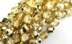 25 Metallic Gold Faceted Round Glass Beads 8MM #Jablonex #Faceted