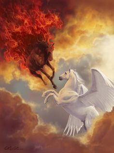 Pegasus and Fire Horse Mythical Creatures Art, Mythological Creatures, Magical Creatures, Fantasy Creatures, Unicorn Horse, Unicorn Art, Dark Fantasy Art, Fantasy Artwork, Fire Horse