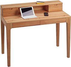 HomeTrends4You 612117 Schreibtisch, 105 x 76/96 x 55 cm, Kernbuche massiv geölt, mit Schubladen