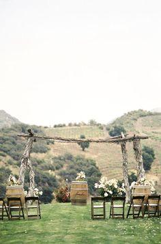 Rustic ceremony arch with wine barrels - Wedding Colours, Wedding Themes, Wedding colour palettes