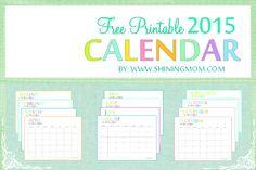 Free 2015 Printable Calendar by ShiningMom.com: Fun and Colorful!