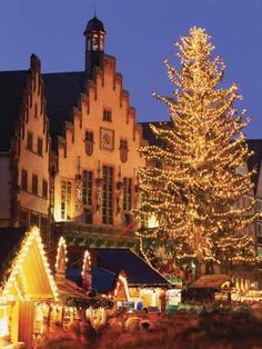 Festive lights decorate the Outdoor Market at Romer Square ~ Frankfurt, Germany