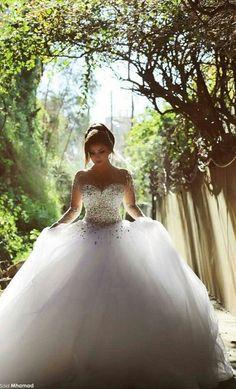Crystal Bridal Dress Muslim Arabic Princess Wedding Dresses Long Sleeve