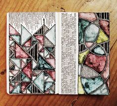 Illusion: Irish artist Rebecca Blair has a beautiful and consistent collection of drawings on her Tumblr page. Her work includes detailed line and lettering art, and what is interesting is that on some pages, there are watercolor shapes that mimic stained glass windows.   http://illusion.scene360.com/art/41557/inspired-from-a-900-year-old-art-form/