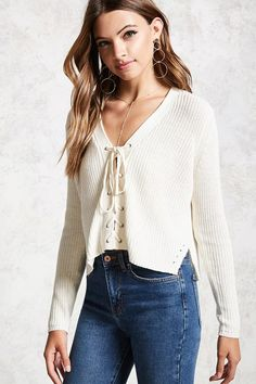 Lace-Up Ribbed Knit Sweater   Forever 21