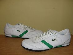 LACOSTE Sport White Leather Lace Up Athletic Sneakers Trainers Shoes Size 11.5 #Lacoste #FashionSneakers