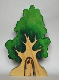 Adorable Children's gift! - WALDORF Wooden SPRING TREE with bunny / woodland by JuguetesEloisa