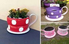 DIY Tire Wishing Well Planters Tutorials: Recycle old tires into an adorable wishing well planter with faux paint brick exterior. Tire Planters, Flower Planters, Tire Garden, Garden Art, Garden Pond, Tire Pond, Planter Garden, Planter Ideas, Tea Cup Planter