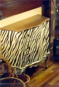 zebra painted dresser