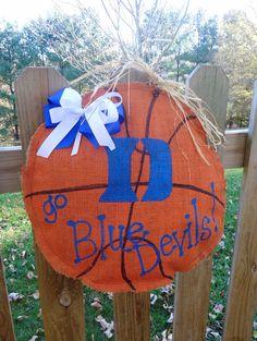 So want this!   Duke Blue Devils Basketball Burlap Door by CraftyGirlRealWorld, $25.00
