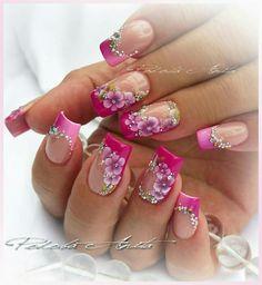 Nail Tip Designs, Pretty Nail Designs, Colorful Nail Designs, Acrylic Nail Designs, Funky Nail Art, Floral Nail Art, Fingernails Painted, Cute Acrylic Nails, Fancy Nails