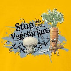 shirt motiv gemüse stop vegetarians blaugrau - Männer Premium T-Shirt