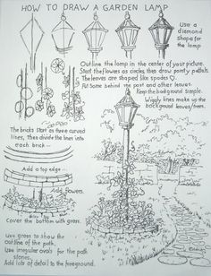 鄉村素描【路燈】,來源:http://drawinglessonsfortheyoungartist.blogspot.tw/2012/05/how-to-draw-garden-lamp-post.html