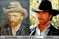 Van Gogh (Dutch painter) and Chuck Norris (actor) Prepare To Be Creeped Out By 28 Celebrities And Their Historic Doppelgangers Celebrity Doppelganger, Celebrity Twins, Celebrity Look, Celebrity Photos, Chuck Norris, Alec Baldwin, Nicolas Cage, Rocky Balboa, John Travolta