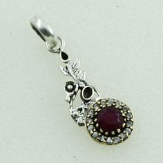RUBY AGATE & CUBIC ZIRCONIA STONE EYE CATCH DESIGN 925 STERLING SILVER PENDANT