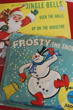 Frosty the Snowman little golden record and Jingle Bells record cover,