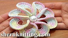 Crochet Folded Petal Flower Popcorn Stitches Center Tutorials 57 Part 2 of 2 - YouTube