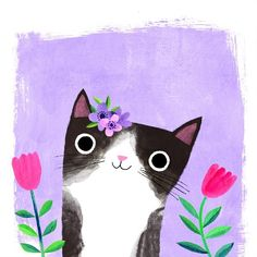 Cats art drawing happy new ideas Cat Posters, Cat Colors, Jolie Photo, Cat Drawing, Cute Illustration, Crazy Cats, Cat Art, Cats And Kittens, Cute Cats