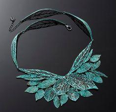 Verdigris green blue statment Leaf metal lace necklace. $219.00, via Etsy.