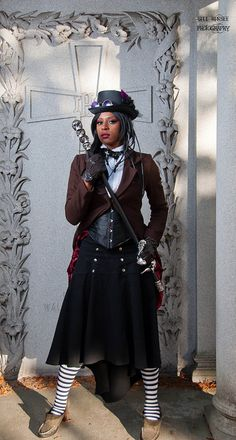 Steampunk: the whole look =yes! Steampunk Cosplay, Steampunk Clothing, Steampunk Fashion, Steampunk Couture, Victorian Steampunk, Gothic, Punk Outfits, Afro Punk, Dieselpunk