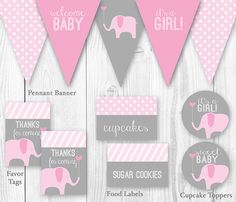 Elephant Baby Shower Package - Pink Gray. DIY Printable Baby Shower Decorations - Elephant Baby Shower Decor. on Etsy, $15.00