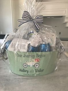 DIY Bridal shower gift basket. Our journey has just begun.