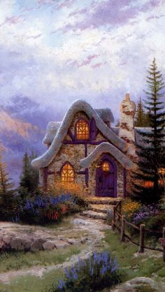 Thomas Kinkade Sweetheart Cottage Painting, thomas kinkade paintings, thomas kinkade art, thomas kinkade gallery, More beautiful fine art pics www.freecomputerdesktopwallpaper.com/wfineart.shtml