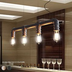 4 Head Water Pipe Industrial Pendant Light #ceiling-light #E27 #Edison-filament