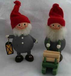 Vintage Konsthantverk Wooden Christmas Tomte Elves Gnomes Swedish Collectible
