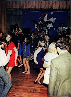 "Jr. high school dance... unfortunately we never had live music.  Each dance started with a ""snowball"" (guys on one side, girls on the other ~ when music stopped switched partners until everyone was dancing) and ended with the song ""Cherish"" by the Association."