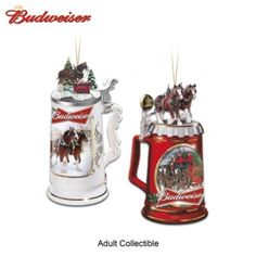 Handcrafted beer stein Christmas ornaments celebrate the King of Beers™. With hand-painted sculptural Clydesdales toppers. Set of 2.