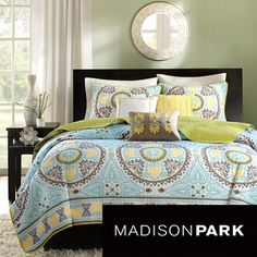 quilt@Overstock - Madison Park Bali 6-piece Coverlet Set - Spruce up your bedroom with this pretty six-piece coverlet set. This lovely ensemble features warm shades that are at home within any decorating scheme, and three pillows provide extra comfort. Intricate embroidery escalates the look.  http://www.overstock.com/Bedding-Bath/Madison-Park-Bali-6-piece-Coverlet-Set/7827994/product.html?CID=214117 $89.99
