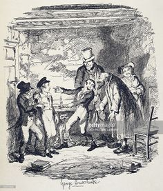 Stock-Illustration : Oliver welcomed by Fagin, scene from Oliver Twist, novel by Charles Dickens (1812-1870), illustration by George Cruikshank (1792-1878), 1838