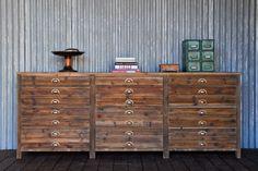 "12 drawer francisco dresser / wooden duck / reclaimed wood / 91""l x 20""w x 35.5""h"