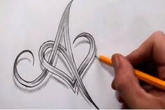 letter in heart tattoo - Google Search