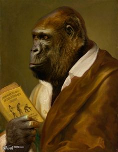 """The contemplating ape"" anthropomorphic art by clintflint"