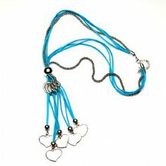 Turquoise & Silver Hearts Suede Long Necklace- N476T We Love Heart, Heart Jewelry, Originals, Hearts, Turquoise, Jewellery, Silver, Blue, Jewels