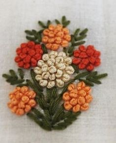 Veggie snacks 4 choices fast snacks veggies the gardeners Bullion Embroidery, French Knot Embroidery, Embroidery Stitches Tutorial, Embroidery Flowers Pattern, Hand Work Embroidery, Flower Embroidery Designs, Creative Embroidery, Simple Embroidery, Silk Ribbon Embroidery