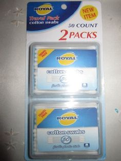 Royal Travel Pack Cotton Swabs 2 Packs 50 Count in Each by cotton natural. $7.99. 2 packs 50 count in each cotton swabs. 2 packs 50 count in each cotton swabs for all your daily beauty needs. ideal for home and travel. . flip-top design . refillable package . portable, on -the-go size