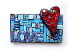 Lil' LOVE Note. Mixed Media Mosaic Stained Glass Red Heart Love Contemporary Art 3D