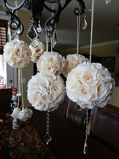 KISSING BALLS - Custom Mixed Size Wedding Flower Balls - Set of 6 Stunning Flower Pomanders, Custom made to Order